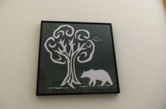 Framed Cut Paper Bear in Woods