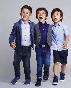 festliche Jungenkleidung, Jeans mit Hemd und Blazer, Blau und Grau, Sommermode 2017