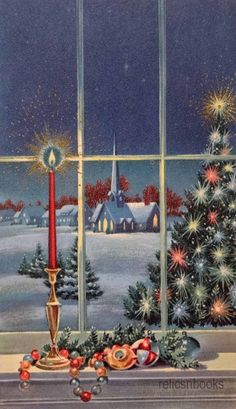 #801 50s Norcross Tree Out the Window-Vintage Christmas Card-Greeting