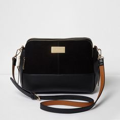 River Island Black triple compartment cross body bag ($72) ❤ liked on Polyvore featuring bags, handbags, shoulder bags, bags / purses, black, cross body bags, women, purse cross body, crossbody shoulder bag and snap purse