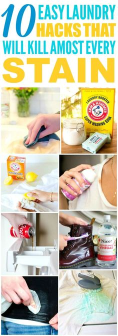 These 10 easy laundry hacks are THE BEST! I'm so glad I found these AMAZING household hacks! Now I have some great ways to get rid of stains! Deep Cleaning Tips, House Cleaning Tips, Natural Cleaning Products, Cleaning Solutions, Spring Cleaning, Cleaning Hacks, Laundry Solutions, Cleaners Homemade, Diy Cleaners