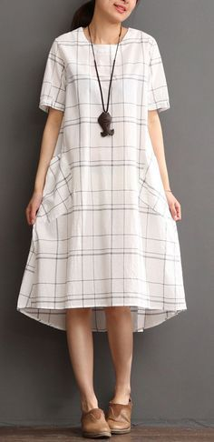 51639bba02c White cotton dress plaid sundress plus size summer maxi dress. White Cotton  DressesCasual ...