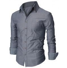 Mens Shirt  Casual Pocket Dress Shirts (D063:DOUBLJU)