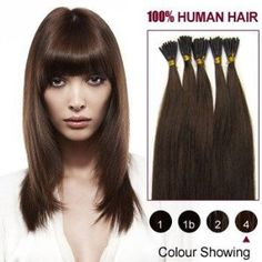 22 Inches Medium Brown(4) 100S Stick Tip Human Hair Extensions by ALIHAIR. $41.97. Can be washed, heat styled.. 200-300strands are recommended for whole head.. High quality, tangle free, silky soft.. 100% Real remy human hair.. APPLICATION:1.Wash and condition the hair thoroughly. After washing, blow dry the hair so that it is straight with no styling products (do not grease or saturate the hair with any other oils). 2.Depending on the style of the extensions,For exa...