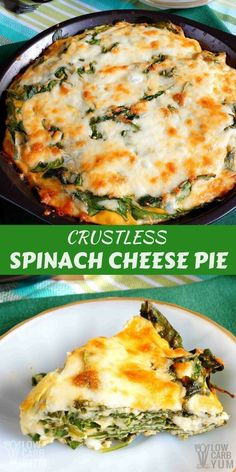 A crustless spinach cheese pie is a simple dish that's perfect for those just starting out on a low carb diet. It can be baked in a pie pan or square dish. | LowCarbYum.com via @lowcarbyum