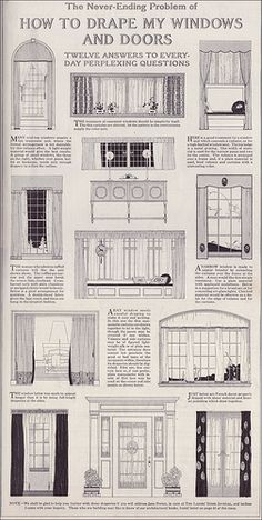"Some things never change: ""The Never Ending Problem of How to Drape my Windows and Doors"". Source: 1918 Delineator From the Antique Home Style collection."