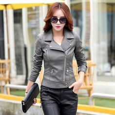 Women Leather Jackets Plus Size Blends sheepskin leather jacket and coat Women Ladies short motorcycle jacket 3XL