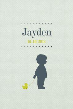 Geboortekaartje jongen - Jayden - voorkant - jongen met eendje - Pimpelpluis - https://www.facebook.com/pages/Pimpelpluis/188675421305550?ref=hl (# tekst - ontwerp - layout - lief - schattig - simpel - eenvoudig - retro - naam - ventje - dieren - eend  speelgoed - silhouet - kindje - origineel)