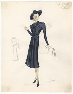Alix Madame Gres 1933-1951. Bergdorf Goodman Sketches. The Metropolitan Museum of Art, New York. Costume Institute (b17508952) | This is from a new collection of Bergdorf Goodman sketches. #fashion