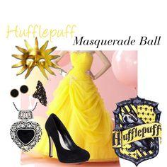 Hufflepuff: Masquerade Ball, created by nearlysamantha on Polyvore