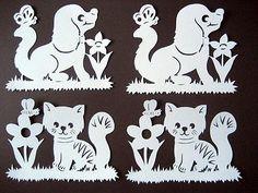 "Fensterbild filigran Tonkarton  "" Hund und Katze "" 4teilig"