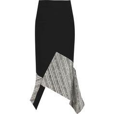 Roland Mouret Seaton asymmetric paneled stretch-crepe midi skirt ($460) ❤ liked on Polyvore featuring skirts, black, zipper skirt, panel skirt, calf length skirts, black knee length skirt and mid calf black skirt