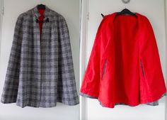 Original VTG 50s 60s Tartan Plaid Checked Winter Wool Swing Cape Coat Cloak S M