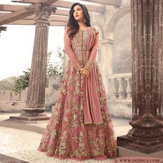 #sonal chauhan makes a Stylish appearance in this Stunning  Pink partywear anarkali suit !