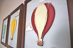 Hot air balloon art for nursery or kids room