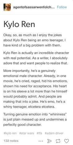 Yes. THIS. And I do love the emo Kylo Ren stuff, but this is perfect. Men can show emotions too!