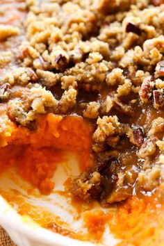 Sweet Potato Casserole makes the perfect side dish for your Thanksgiving celebrations! It is perfectly sweet with the most delicious crumble topping! via @bestblogrecipes