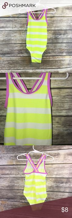 3T Old Navy one piece swim suit Bright yellow and white with purple lining.  Very clean. Old Navy Swim One Piece