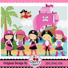 Pirate Elements_Children Pirates for girls digital clip art set-Personal and Commercial Use Pirate Theme, Pirate Party, Baby Prints, Summer Crafts, 21st Birthday, Invitation Design, Art Images, Diy For Kids, My Little Girl