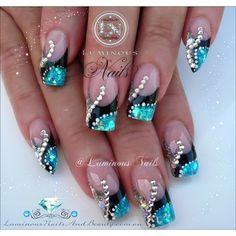 Silver Nail Designs, Cute Nail Designs, Acrylic Nail Designs, Acrylic Nails, Silver Nails, Pink Nails, Glitter Nails, Black Nails, Silver Glitter