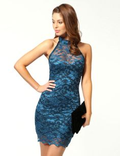 Beautiful Blue Lace Sexy Style Halter Sleeveless Sheath Mini Party Dresses