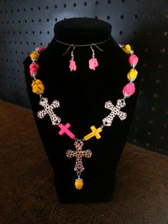 Yellow & Pink Magnesite Triple Cross Necklace with by SassyThreadz, $22.00
