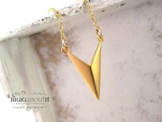 Chevron Necklace . Gold Layering Necklace by BragAboutIt