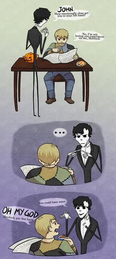 """Sherlock and Watson at home, Tim Burton style. """"How emotionally attached are you to your left hand?"""""""