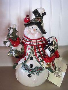 Kaldun & Bogle Snowman Christmas Cookie Jar Hand Painted Retired - NWT #ebay