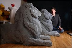 Lego Lions by renowned brick artist Nathan Sawaya. Created using standard gray Lego bricks, one lion is named Patience, and the other is called Fortitude Outdoor Sculpture, Outdoor Art, Sculpture Art, Used Legos, Lego Sculptures, Lion Love, Cool Lego, Awesome Lego, Lion Art