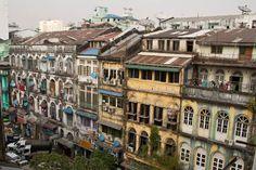 Yangon's shabby colonial buildings. Burma Myanmar, Yangon, Colonial, Buildings, Shabby, Street View, Mansions, History, House Styles