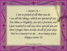 happy sweet 16 birthday poems |