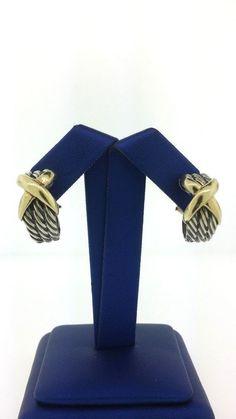 David Yurman 14K Yellow Gold 925 Sterling Sliver Tripple Cable X Shrimp Earrings…