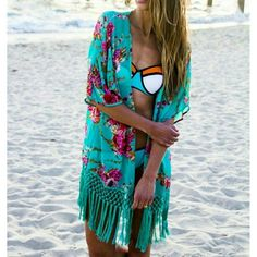 NEW Beach Tassel Kimomo Awesome floral kimono by Gamiss. Size M, fits true to size. Perfect length for a swim coverup. New with tags, never worn. Swim Coverups