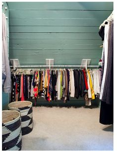 Closet in a slanted attic space! Love!