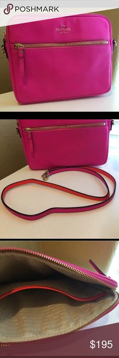 "Kate Spade Bryce iPad Tablet Case Holder Purse Bag Brand new without tags!  Color: Vivid Snapdragon (Bright Pink)  This vividly colored kate spade new york iPad case lets you show your style even when it comes to your electronics!  DETAILS • Leather with golden hardware • Padded interior protects your tablet • Top zip • Front zip pocket • Detachable crossbody strap; 20 3/4"" drop. • Interior, open slip pocket  Product Dimensions: 8 1/2""H x 10 3/4""W  x 1""D          No Trades kate spade Bags…"