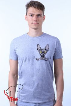 Hipster Hairless Cat Funny Kitten T-shirt by LinkTee on Etsy