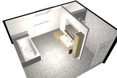 Omdat deze badkamer vrij groot is (4m10 x 4m30) hebben we gewerkt met ons befaamde T-stuk. Dat zijn 2 wanden die als een T-opstelling tegen een muur in de badkamer geplaatst worden. Achter 1 kant van het T-stuk werd de hang-wc van Duravit discreet opgesteld. Achter de andere kant zit …