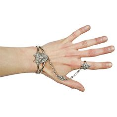 silver slave bracelet / wolf bracelet / cuff / ring / silver tone / hand chain / medieval / Game of Thrones / costume jewelry