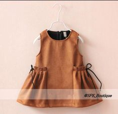 Dresses For Tweens Fashion Kids Girls Faux Suede Dresses Baby Girl Fall…Nice pocket detail, not just for kids.for Disney Dolls Clothes, Gotz, Paola ReinaVivian Dress on StorenvySmocking instead of the pleated? Dresses For Tweens, Little Girl Dresses, Dress Girl, Baby Girl Fashion, Kids Fashion, Fashion Fashion, Baby Girl Fall, Baby Dress Patterns, Sewing Patterns