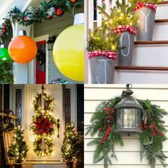 Christmas Decorations – 32 beautiful Christmas porches & front doors: how to create gorgeous and playful… Best Outdoor Christmas Decorations, Christmas Planters, Christmas Porch, Christmas Design, Xmas Decorations, Christmas Wreaths, Christmas Crafts, Outdoor Decorations, Christmas Villages
