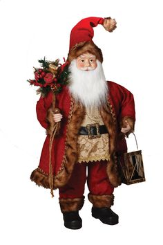 """The Jolly Christmas Shop - 32"""" Large Rustic Fur Trimmed Santa Standing Figure with Lantern 7020440, $79.99 (http://www.thejollychristmasshop.com/32-large-rustic-fur-trimmed-santa-standing-figure-with-lantern-7020440/?page_context=category"""