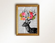 DEER print - art print digital - A4. $20.00, via Etsy.