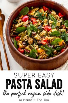This is the BEST pasta salad for summer picnics and barbecues! It's super easy, vegan, gluten-free, full of flavor, and the perfect BBQ side dish! I've had people I serve this to tell me it's their favorite pasta salad ever. Not to toot my own horn, but it's definitely a winner! #pastasalad #bbqsidedish #glutenfreerecipe #glutenfreedairyfree #glutenfreevegan