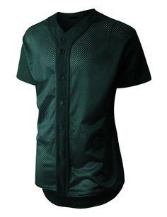5b87daeef LE3NO Mens Short Sleeve Full Button Mesh Baseball Jersey