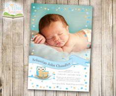 Printable Baby Owl BIRTH ANNOUNCEMENT with Photo - Blue Owl