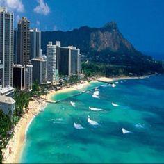 Diamond Head and Waikiki, Honolulu, Hawaii.