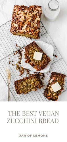 This Vegan Zucchini Bread is truly the BEST! Sweet, warm, and delicious, this recipe is great as a healthy breakfast loaf, snack, or dessert. Make this easy vegan, gluten-free recipe in no time for a wholesome treat that lasts all week long! Best Vegetarian Recipes, Gf Recipes, Lemon Recipes, Brunch Recipes, Gluten Free Recipes, Healthy Recipes, Vegan Zucchini, Zucchini Bread, Easy Weeknight Dinners