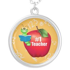 Number One Teacher Necklace  Click on photo to purchase. Check out all current coupon offers and save! http://www.zazzle.com/coupons?rf=238785193994622463&tc=pin