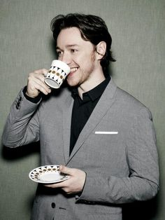 Nothing brings healing to the soul like a cup of tea. That, or a James McAvoy smile. Scottish Actors, British Actors, Glasgow, James Mcavoy Michael Fassbender, Beautiful Men, Beautiful People, Becoming Jane, Scruffy Men, Charles Xavier